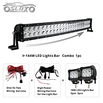 sldx 144w 26inch off road curved combo led light bar 2pcs 18w spot rh amazon ca