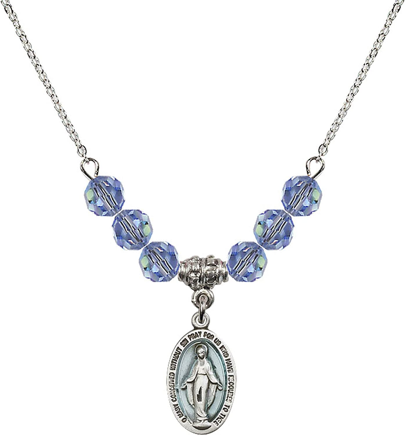Bonyak Jewelry 18 Inch Rhodium Plated Necklace w// 6mm Light Blue September Birth Month Stone Beads and Miraculous Charm