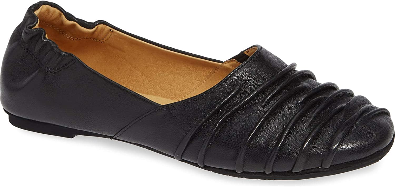 Chocolat Blu Caro Flat - Women's Pleated Leather Shoes