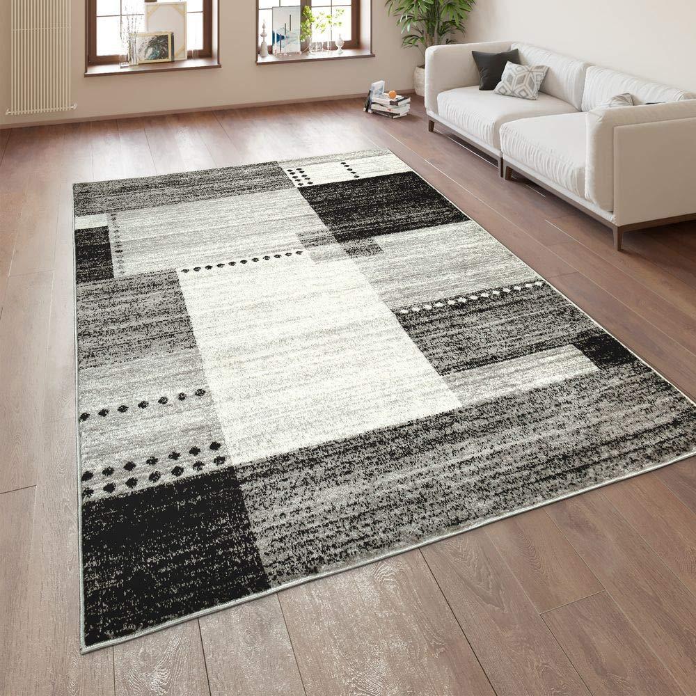 Paco Home Designer Teppich Kurzflor Wohnzimmer Meliert Karo Muster In Grau Schwarz Weiß, Grösse:60x100 cm Grösse:60x100 cm