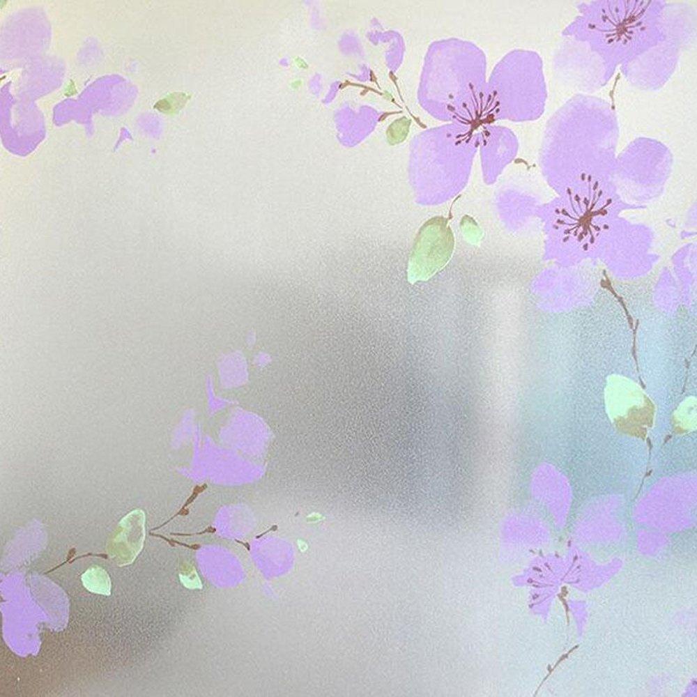 パープルフラワー防水ウィンドウガラスステッカーウィンドウフィルムプライバシーCling装飾ガラスフィルム 45x100cm(17.7x39.4inch) D4102-E-CN-FE1 B075595Z7N 45x100cm(17.7x39.4inch)