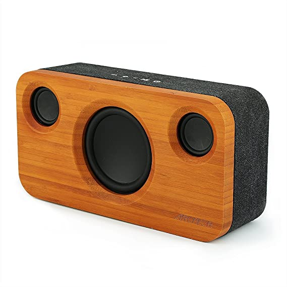 8e028aec3b227f ARCHEER 25W Bluetooth Speaker (A320) with Super Bass, Loud Bamboo Wood Home  Audio