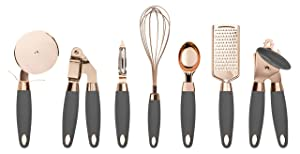 COOK With COLOR 7 Pc Kitchen Gadget Set Copper Coated Stainless Steel Utensils with Soft Touch Nylon Grey Handles
