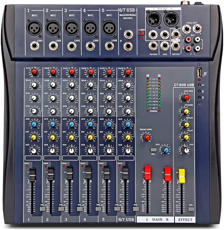 XTUGA CT-60S USB Professional Stage Audio Mixer Built-in Digital Effect Mixer with 48V Phantom Power Music Mixer 7Channel Mixer (CT60S-7Channel)