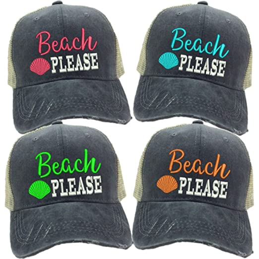 Adult Custom Distressed Funny Trucker Hat quot Beach Please quot   Embroidered Baseball Cap ... 0a92a51abd71