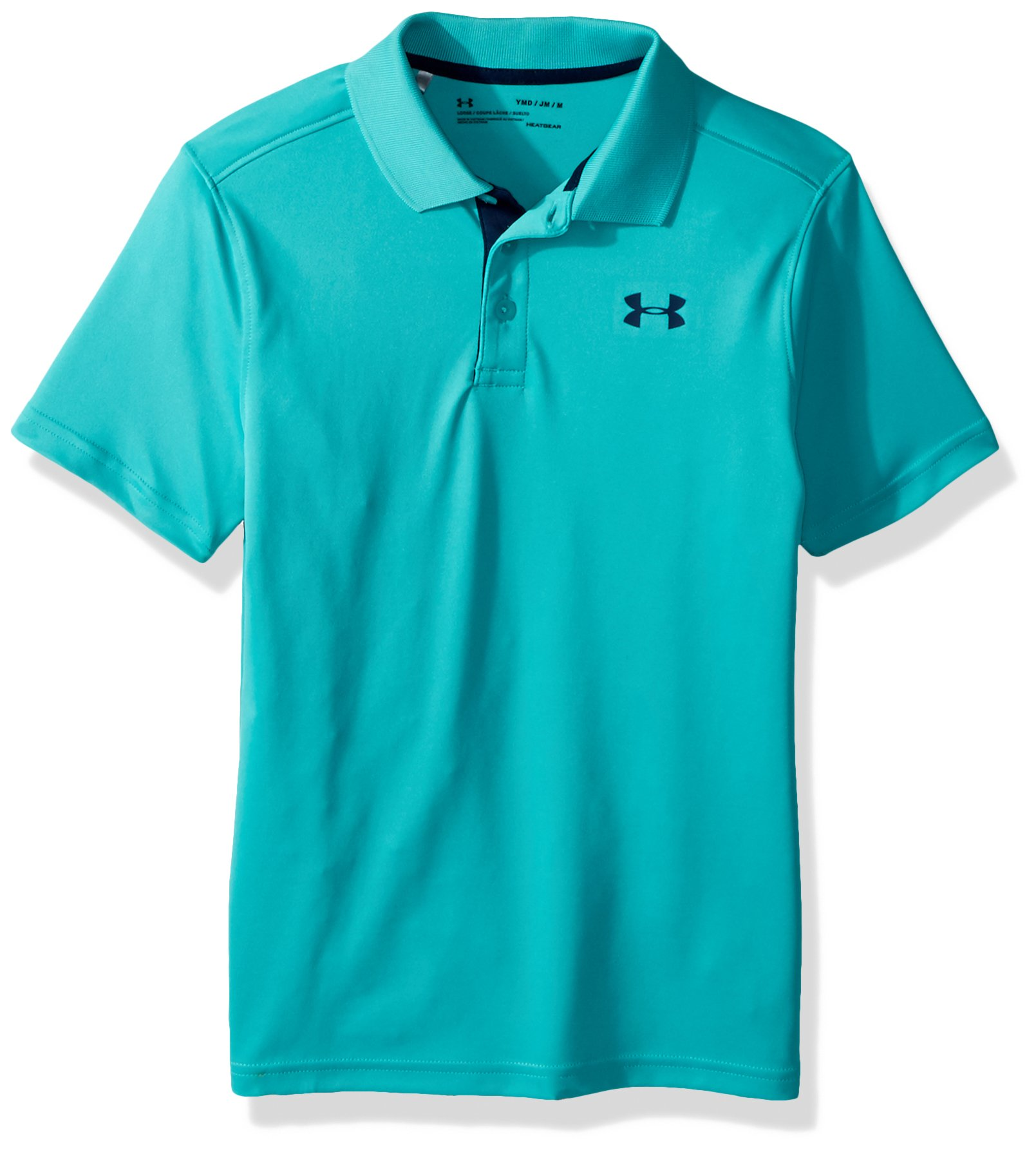 Under Armour Boys' Performance Polo, Teal Punch (594)/Academy, Youth Small