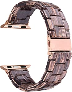 V-Moro Compatible 38mm 40mm iWatch Band Women Men- Fashion Resin Apple Watch Band Bracelet with Copper Stainless Steel Buckle for Apple Watch Series 5 Series 4 Series 3 Series 2 - Coffee Wood Grain