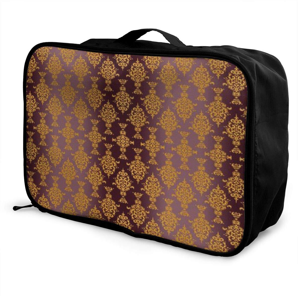 ADGAI Damask Gold Canvas Travel Weekender Bag,Fashion Custom Lightweight Large Capacity Portable Luggage Bag,Suitcase Trolley Bag