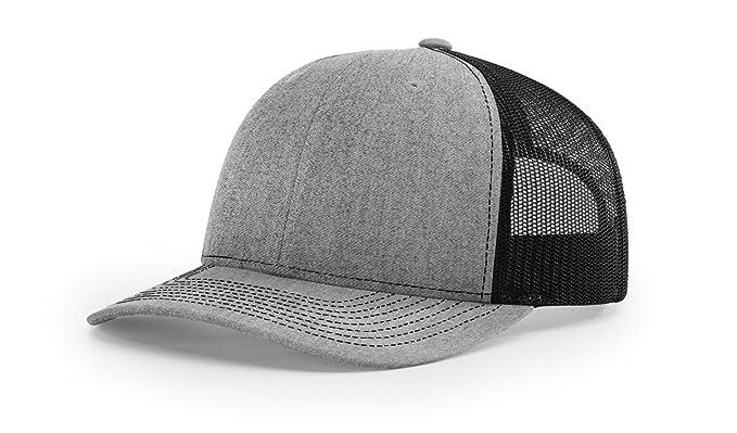 Richardson Heather Grey Black 112 Mesh Back Trucker Cap Snapback Hat ... e127a6b89f2