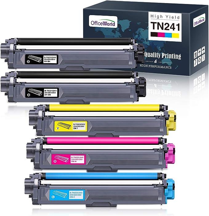Imagen deOfficeWorld Compatible Brother TN241 TN245 TN-241 TN-245 Cartouche de Toner pour Brother DCP-9020CDW DCP-9015CDW HL-3170CDW HL-3140CW HL-3150CDW MFC-9340CDW MFC-9140CDN MFC-9330CDW (5 Paquets)