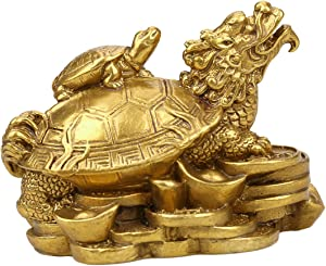 Yaoyijun Brass Feng Shui Gold Dragon Turtle Wealth Protection Statue Figurine Housewarming Congratulatory Paperweights Gift Home Decor