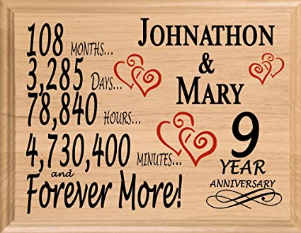 Amazoncom Broad Bay 9th Personalized 9 Year Anniversary Wedding