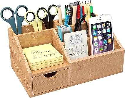 Homfa Organizador bambú para escritorio Organizador de Suministros de Oficina Organizador de Mesa 25 * 15 * 11cm: Amazon.es: Oficina y papelería