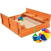 Deals on BCP 47x47in Kids Cedar Sandbox w/Sand Screen 2 Benches