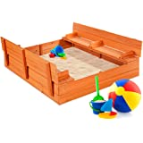 Best Choice Products 47x47in Kids Large Wooden Sandbox for Backyard, Outdoor Play w/Cedar Wood, 2 Foldable Bench Seats, Sand