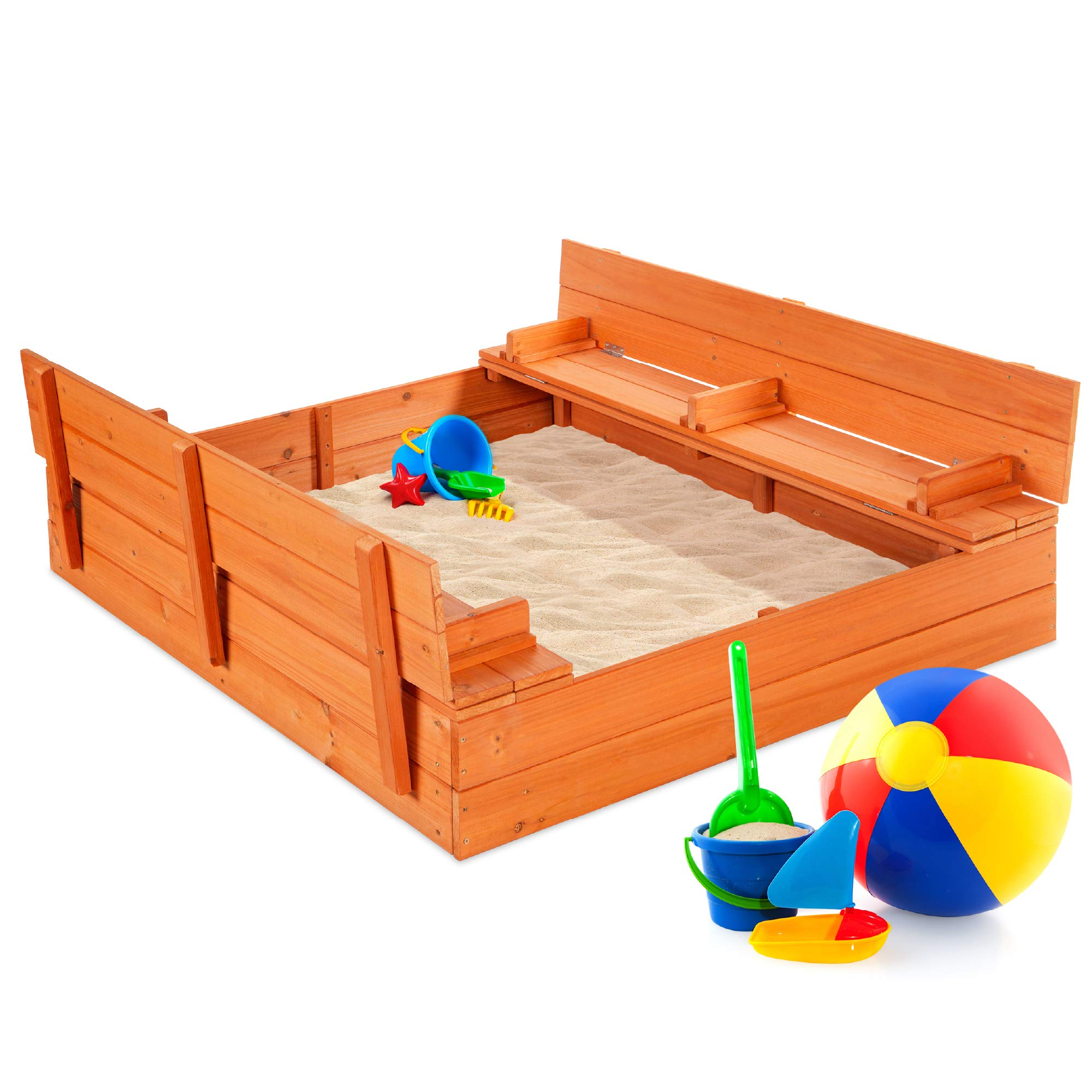 Best Choice Products 47x47in Kids Large Wooden Sandbox for Backyard, Outdoor Play w/Cedar Wood, 2 Foldable Bench Seats, Sand Protection, Bottom Liner - Brown