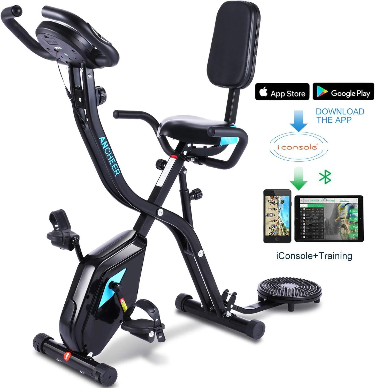 Ancheer Bicicleta estática 3 en 1 plegable, bicicleta estática de interior con 10 niveles de resistencia magnética ajustable y programa de aplicación y monitor LCD para el entrenamiento total del cuerpo en