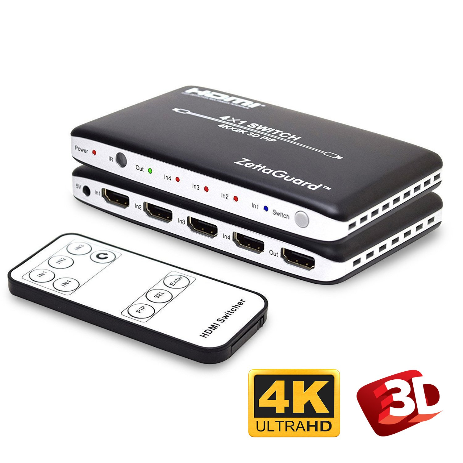 Zettaguard 4K x 2K 4 Port 4 x 1 HDMI Switch with PIP and IR Wireless Remote Control, HDMI Switcher Hub Port Switches (ZW410)