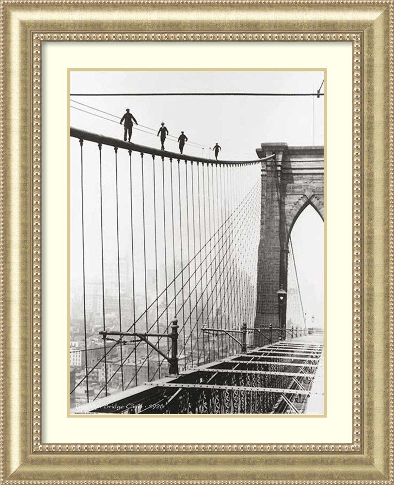 アートフレーム印刷' Brooklyn Bridge Climb、1926 ' Size: 34 x 42 (Approx), Matted ホワイト 3809124 Size: 34 x 42 (Approx), Matted Astoria Champagne,mat:pure White (Off White) B01L8I1O3Y