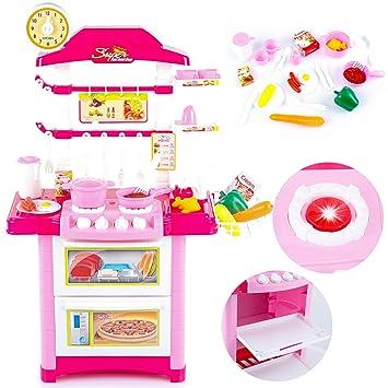 Kinderküche Kinder KP9079 Küche NEU Zubehör Töpfe Backofen Küchen  Spielküche ROSA