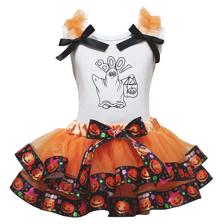 Petitebella My 1st Halloween Black L//S Shirt Orange Pumpkin Petal Skirt Nb-8y