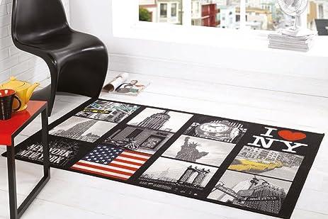 I Love NY New York Big Apple Design Washable Black Grey Rug In 3u00273u0026quot
