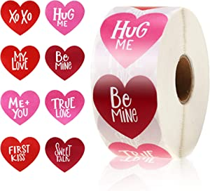 650 Pieces Multicolor Self-Adhesive Heart-Shaped Stickers Valentine's Day Heart Stickers for Handmade Love Valentine Gift, Home Decor Wedding Party Favor Supplies(Sweet Words)
