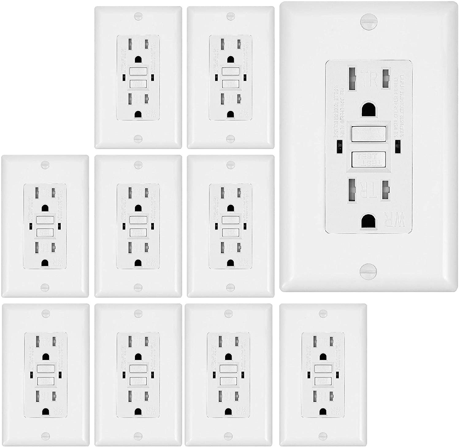 10 Pack - GFCI Duplex Outlet Receptacle - Tamper Resistant & Weather Resistant 15-Amp/125-Volt, Self-Test Function with LED Indicator - UL Listed, cUL Listed - Wall Plate and Screws Included, White