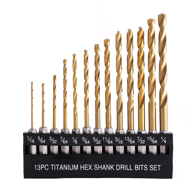 50pcs Drill Bit Set Titanium Coated HSS High Speed Steel Hex Shank Quick Change!