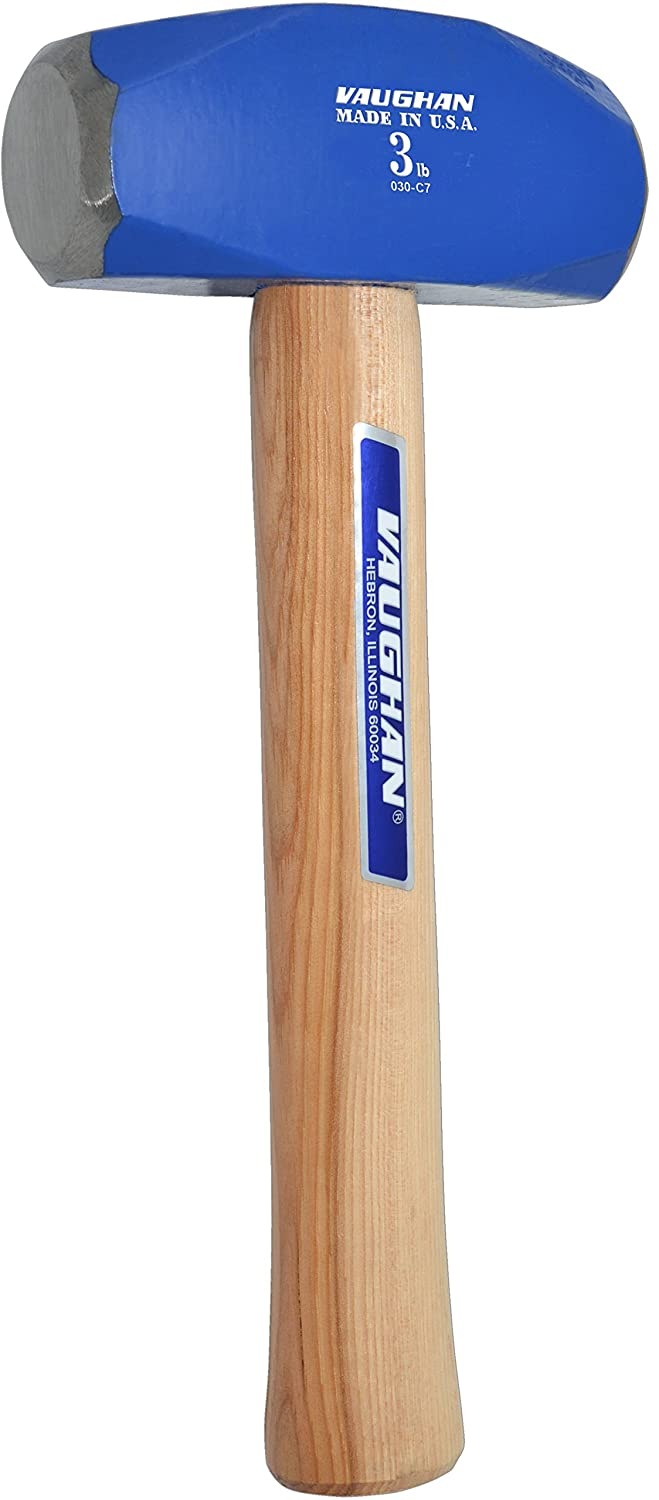 10 1//4-Inch Long. Vaughan HD3 3-Pound SuperSteel Hand Drilling Hammer Flame Treated Hickory Handle