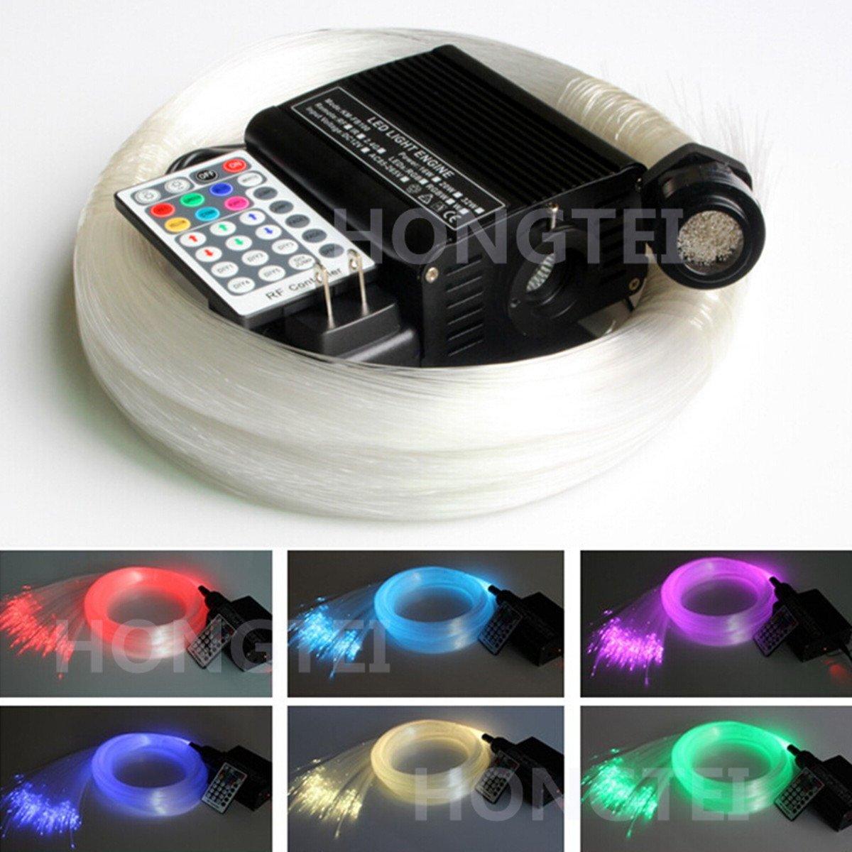 HongTie 16W RGBW 28key RF Remote LED Fiber Optic Star Ceiling Light Kit 300pcs 0.75mm 2m