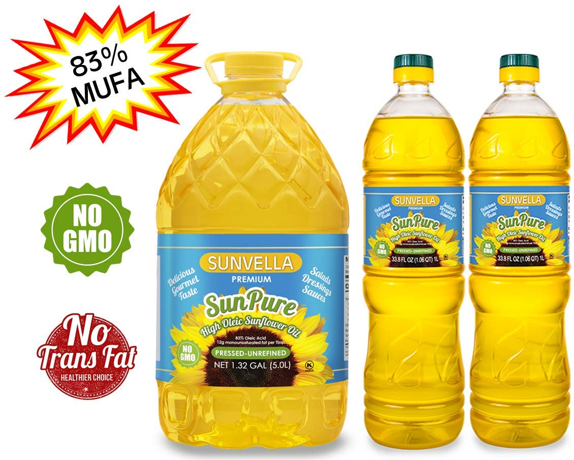 SUNVELLA SunPure Non-GMO High Oleic Sunflower Oil, Pressed-Unrefined Pack of 3 (1.32 GAL + 2 x 33.8 FL OZ) by SUNVELLA