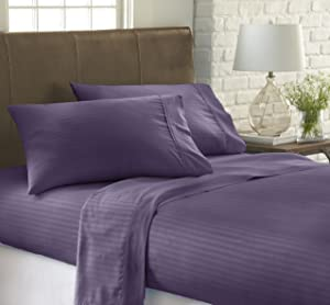 ienjoy Home Dobby 4 Piece Home Collection Premium Embossed Stripe Design Bed Sheet Set, King, Purple