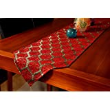 Secret Sea Collection, Luxury Peacock Jacquard Table Runner (Red) (178x37cm)