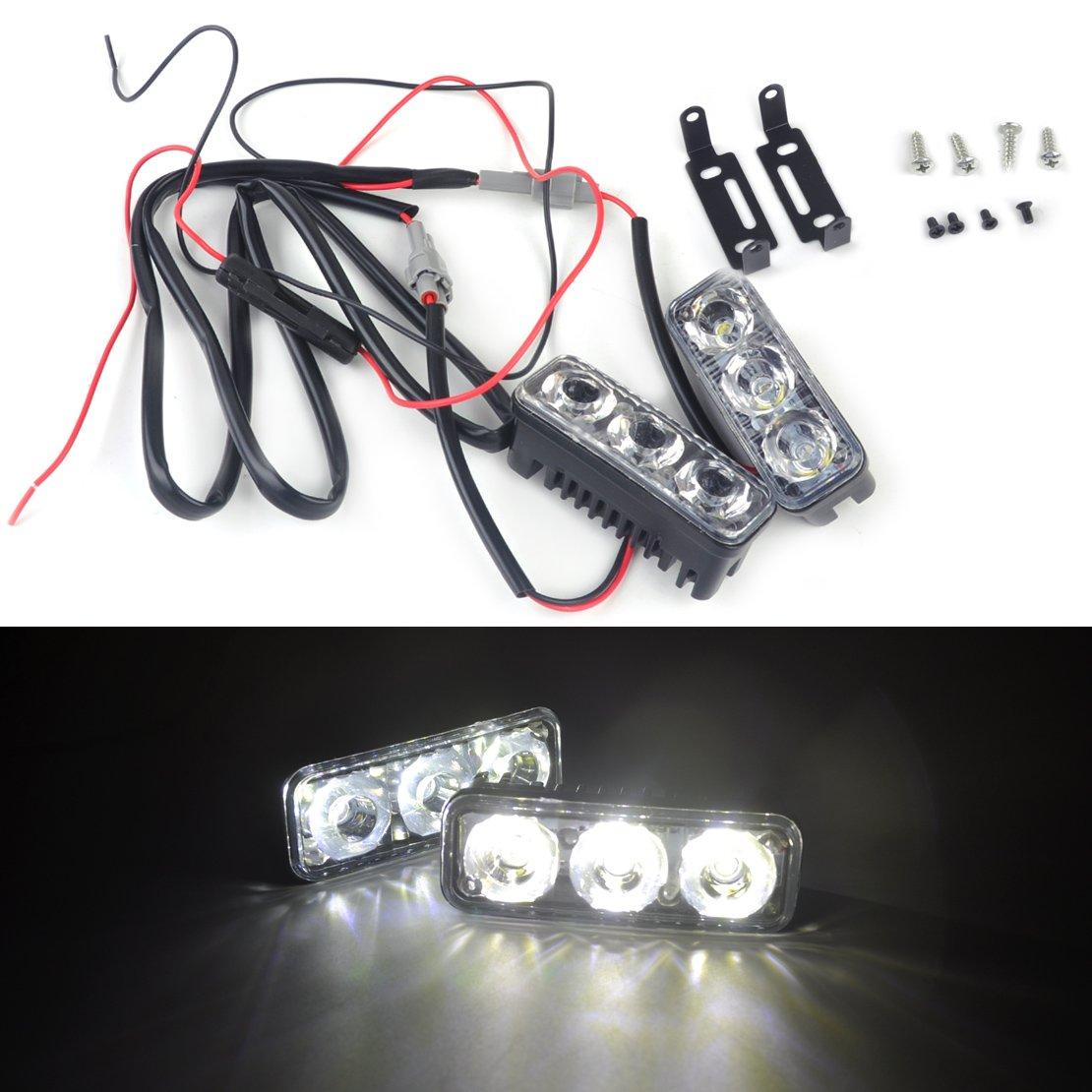beler 2pcs 12V Universal Car 3 LED High Power White DRL Daytime Running Light Super Bright Driving Daylight Lamp Kit hermeshine