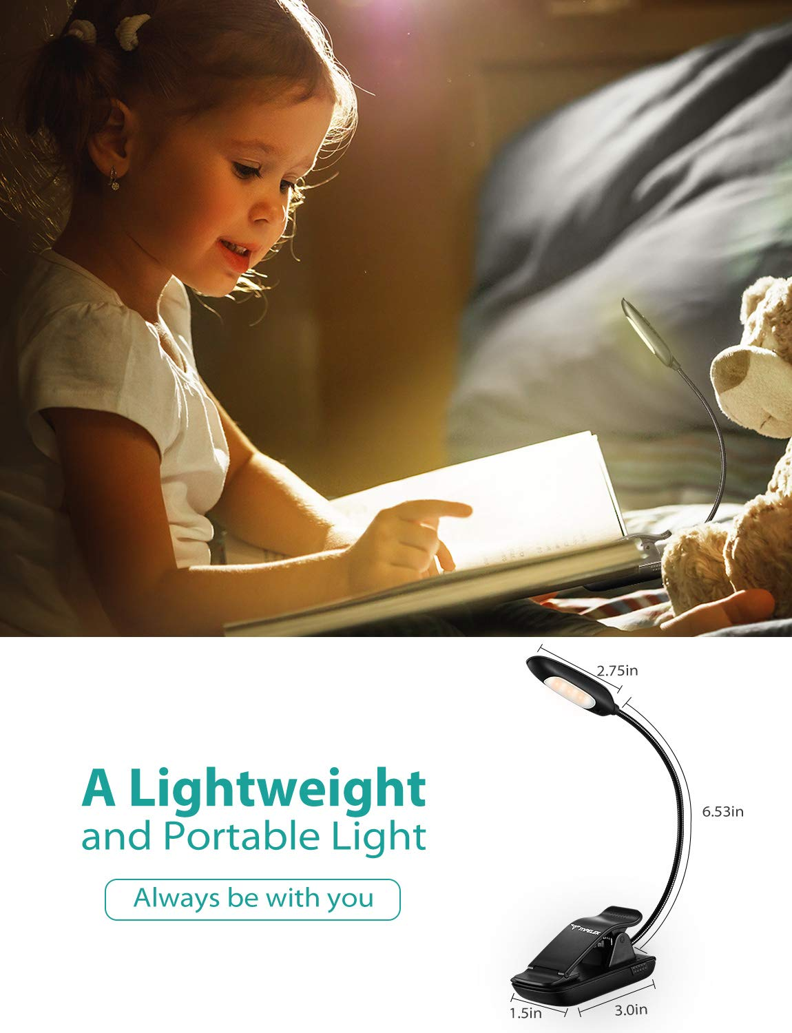 TopElek Reading Light, 7 LED Book Light with 9-Level Warm/Cool White Brightness, USB Rechargeable, Eye Care Lamp with Power Indicator, Perfect for Bookworms, Kids by TOPELEK (Image #7)