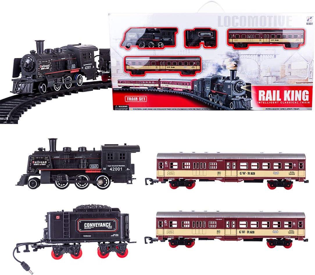 Polai Trenes Electricos Juguete, Tren Eléctrico para Niños, Locomotora de Vapor, Juego de Trenes de Juguete con Sonido y Humo