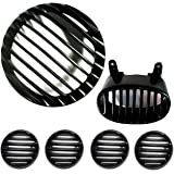 Yashinika Plastic Headlight Tail Light Indicator Grill Protector for Bajaj Avenger Street 150, 220, Cruise 150, 200 (Matte Black, Set of 6)