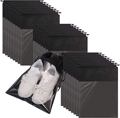 24 Pack Portable Shoe Bags for Travel Large Shoes Pouch Storage Organizer Clear Window with Drawstring for Men and Women Black