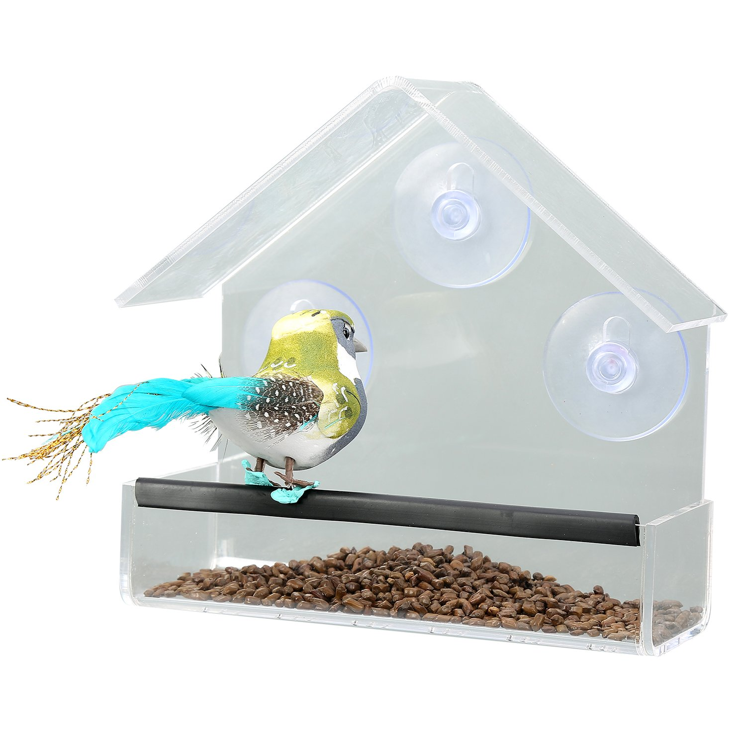 JDONOW Transparent Acrylic House Shape Window Bird Feeder with 3 Strong Suction Cups, Drain Holes,for Fun Educative Home Bird Watching,Guaranteed For All Weather