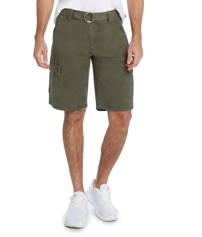 9 Crowns Men's Premium Twill Belted Cargo Shorts