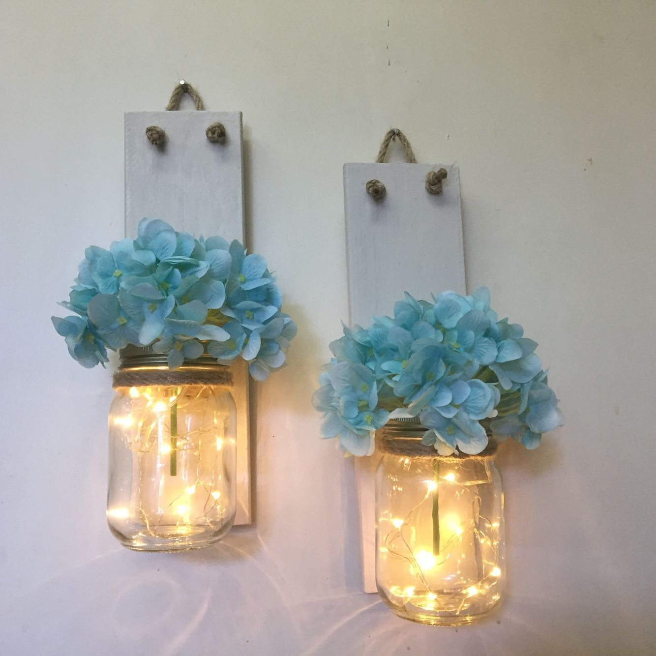 Lighted Mason Jar Sconces, Set of 2 Hanging Sconces White Wood with Lights, Mason Jar Decor, Rustic Home Decor, Sconces with Hydrangeas