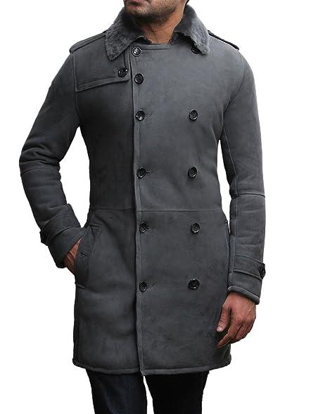Brandslock Men's Luxury Spanish Merino Fur Sheepskin Belted Pea ...