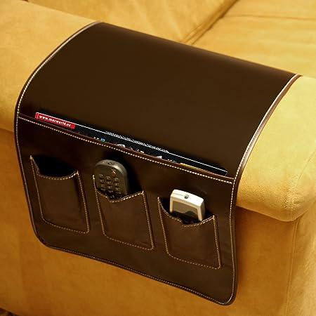 DONREGALOWEB Portamandos Organizador mandos Polipiel marrón para 3 mandos y revistas o Tablets para Lateral sofá 37x64cm: Amazon.es: Hogar