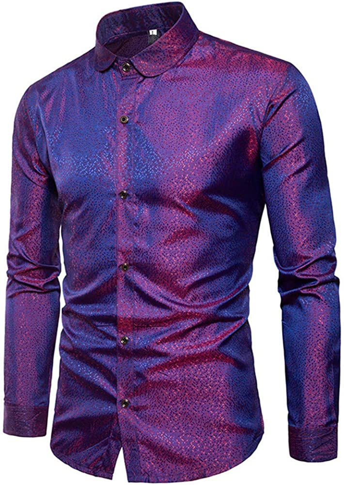 Mens Dress Shirts Slim Fit Long Sleeve Buttondown Collar Dress Shirt Top