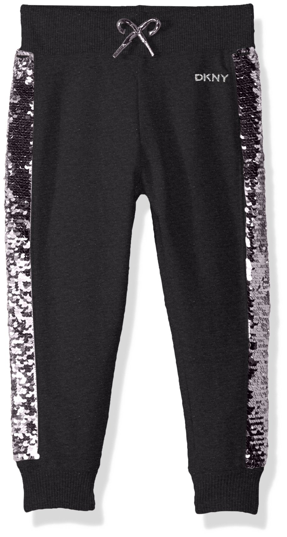 DKNY Toddler Girls' Casual Pant, Flip Sequin Charcoal Heather, 4T