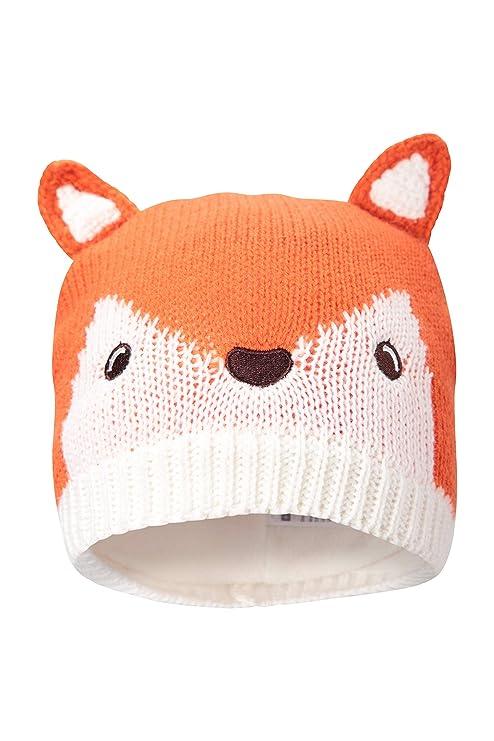 7fbacb6b369e Mountain Warehouse Bonnet tricoté Fox Enfants - Entretien Facile, Chaleur    Confort - Parfait pour
