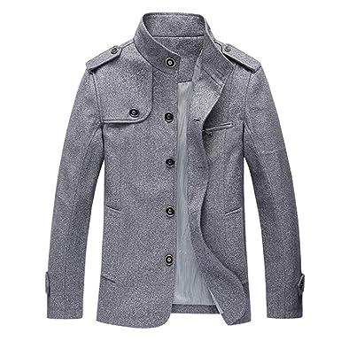 Homme Hiver Manteau Homme Trench-Coat Chaud Parka Veste Court Slim Fit  Casual Outwear Caban 9a5016141b42