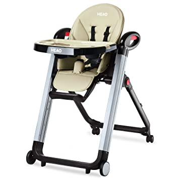 Heao Foldable High Chair Reclining Height Adjustable 4 Wheels Beige