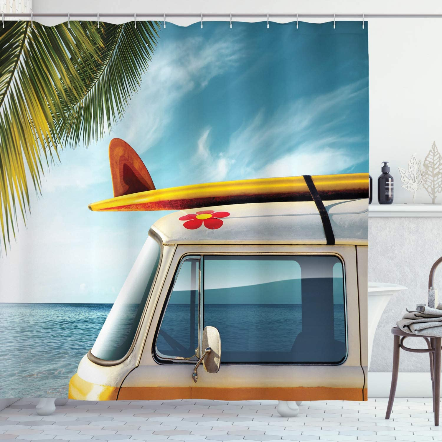 """Ambesonne Surfboard Shower Curtain, Vintage Van in The Beach with a Surfboard on The Roof Journey Spring Sky Season, Cloth Fabric Bathroom Decor Set with Hooks, 84"""" Long Extra, Yellow"""